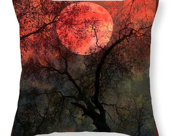 Original Photo BLOOD MOON Throw Pillow COVER Choose Size Crimson Red Full Moon Surreal Gothic Home Decor