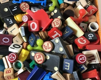 Game Pieces / 35 Pc. Vintage Lot Game pieces De-stash Scrabble, Dominoes, Bingo, Rummikub Pieces for Art, Mixed Media