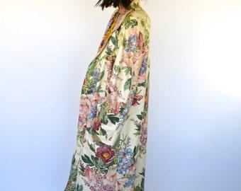 Vintage 80's Urethane Floral Raincoat Overcoat