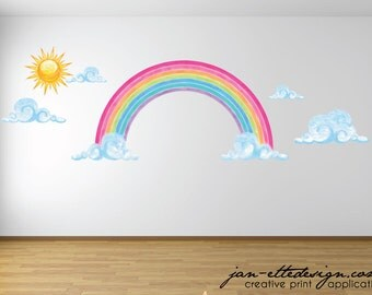 Large Rainbow Decal,Watercolor Style Rainbow Clouds and Sun Wall Art,Removable and Repositionable Fabric Wall Decal