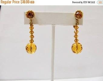 On Sale VENDOME Golden Facetted Glass Beaded Earrings Item K # 1364