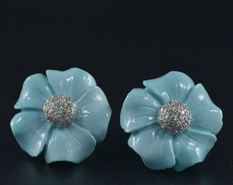 Untreated natural turquoise and diamond vintage flower earrings