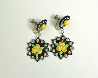 Vintage 1940s 1950s Dangling Earrings Yellow and Black Plastic Shells Rhinestone