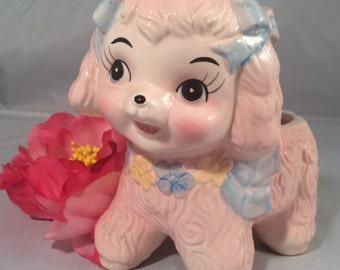 SALE!!!-Vintage Pink Baby Lamb Nursery Planter, Nursery Decor, Cottage Chic, Made by Rubens #9156 TAIWAN