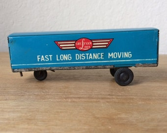 Vintage ICHIMURA Tin Lithograph Semi Trailer, Grey Van Lines, Fast Long Distance Moving, Tin Toy Trailer