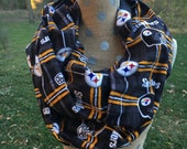 Pittsburg Steelers Plaid Flannel NFL Football GameDay Infinity Scarf 8x70 Double Loop. RTS