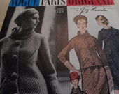RESERVED  Vintage 1960's Vogue 1124 Paris Original Guy Laroche Suit and Blouse Sewing Pattern Size 14 Bust 34