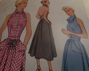 Vintage 1950's McCall 8082 Halter Dress Sewing Pattern, Size 14 Bust 32