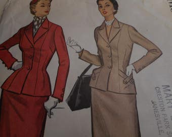 Vintage 1950's McCall's 9685 Suit Sewing Pattern, Size 20 Bust 40