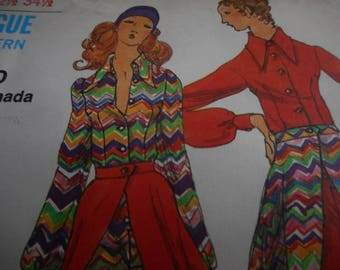 Vintage 1970's Miss Vogue 8167 Jumpsuit and Skirt Sewing Pattern, Size 10 Bust 32 1/2