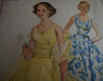 Vintage 1950's Simplicity 2107 Dress and Stole Sewing Pattern, Size 12 Bust 32