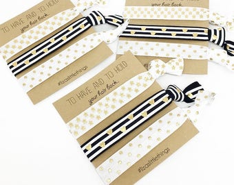 Hair ties. Black and White hair ties. gold stars and hearts elastics. Friendship Foe hair ties. Bachelorette party gift. Bridesmaids gift