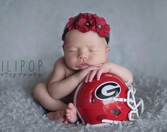 Baby Headband Newborn Headband Infant Headband Toddler Headband Red Headband Flower Headband