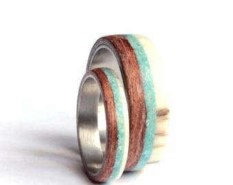 Titanium Band Sets, Wedding Ring Sets, Deer Antler Wedding Ring, Mens Ring, Women Ring