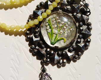 Antique Reverse Painted Glass Intaglio Lily of the Valley Cameo Victorian Cut Steel Buckle Jade Necklace