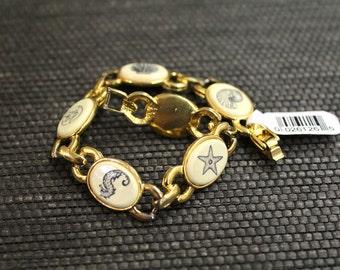 Vintage Faux Scrimshaw Bracelet // Beach Bracelet // Link Bracelet // Sea Animals // Gold Plated Bracelet // Vegan Scrimshaw // 26126