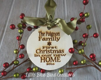 Our first christmas in our new home wood ornament - personalized wood ornament - first christmas - housewarming -christmas ornament