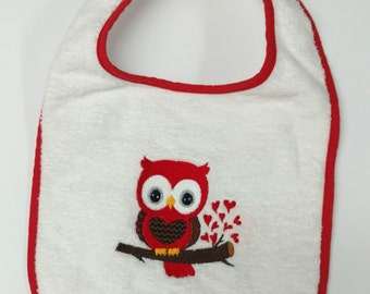 Red Heart Owl Embroidered Bib
