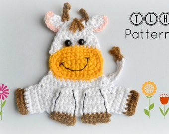 Crochet applique pattern, farm animal applique, crochet cow applique pattern, pattern no. 63