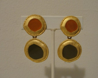 "abstract circular drop dangle clip earrings 1 1/8"""
