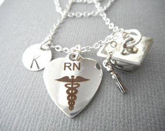 RN Registered Nurse/ Hat, Cap -Initial Necklace/ college graduation, gift for her, for girls, female, graduation party ideas, custom gift