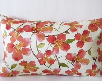 Floral Lumbar Pillow, Cherry Blossom Pillow, Pink Floral Pillow, Lumbar Pillow Cover, Cotton Pillow Cover, Pink Pillow Cover, 12 x 20