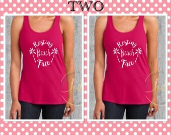 Bridesmaids Gifts/SET OF TWO Resting Beach Face Tanks/Bachelorette Party Shirts/Bridal Party Shirts/Beach Shirt/Racer Back Tank Top