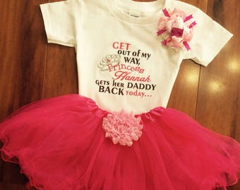Welcome Home Daddy, Girls military home coming outfit, baby and toddler sizes, all included as shown