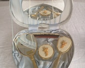 Vintage Hand Mirror, Brush, accessories in Original Heart Shaped Box