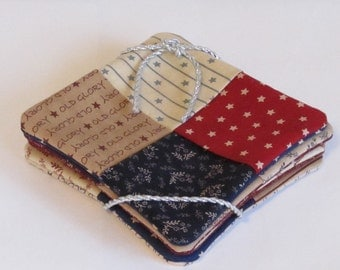 Coaster Set Patriotic Patchwork Quilted Weave With Inner Layer Of Batting And Reversible Back