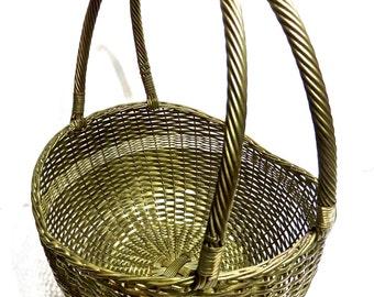 "BOHO 12"" Woven Brass Basket, Brass Basket with Double Handle All Season Boho Basket"