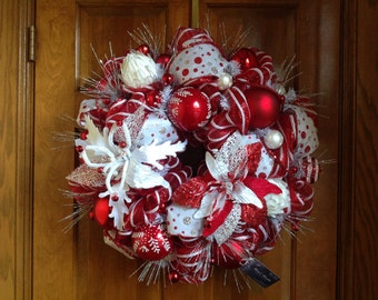 Whimsical Red and White Wreath or Centerpiece