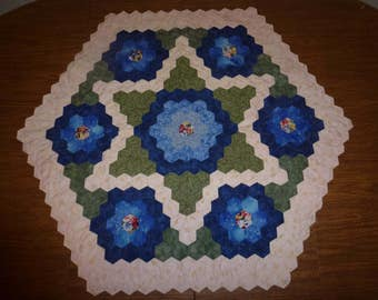 """Handmade Patchworked and Hand Quilted Octogon Table Topper  32"""" by 32"""" From Side to Side. Beautifully made in Design and Colors"""