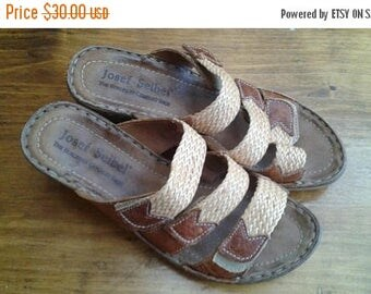 SALE Josef Seibel Sandals _Brown leather - Wedge shoes - size 38