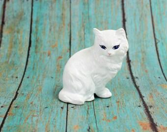 Vintage White Cat Figurine, White Kitten, Ceramic Cat Figurine, Ceramic Kitten, White Long Haired Cat, Blue Eyed Cat, Epsteam