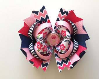 SALE! Ready To Ship Hairbow! Spring Flowers Hairbow, Kites Hairbow, Navy Blue And Pink Hairbow, Spring Hairbow, Boutique Hairbow, Girls Bow