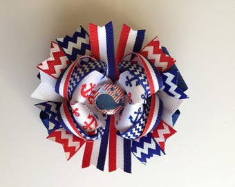 SALE! Ready To Ship Hairbow! Whale Hairbow, Red White And Blue Nautical Hairbow, Chevron Sailor Hairbow, Boutique Hairbow, Girls Hairbow