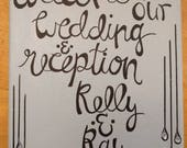 RESERVED - Custom Wedding Sign for KELLY, Handwritten Sign, Hand Lettered Sign, Custom Sign, Reception Sign, Welcome Sign, Calligraphy Art