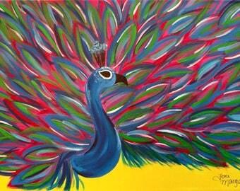 Colorful Peacock Art, 8x10 Inch Print, Peacock Artwork, Original Peacock, Peacock Print, Peacock Gift Idea, Animal Art Gift, Bird Wall Decor