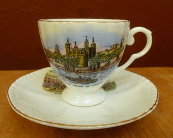 London Souvenir sup & saucer Tower and Buckingham Palace Royal Grafton Bone China
