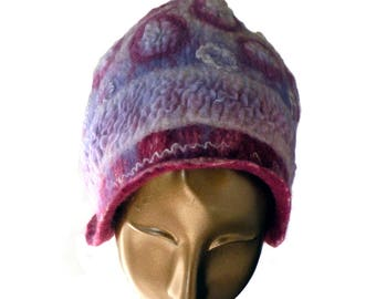 Designer Felted Hat for Spring - Woman's Unusual Beanie - Playful Hat with Happy Circles in Pastel Colored Wool