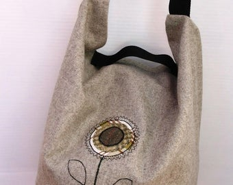 Stone Coloured Wool and Sage PVC Appliqued Bag SF001