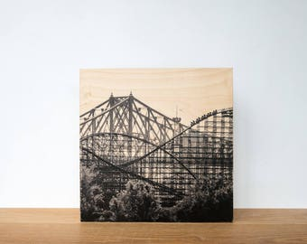 "Roller Coaster, Photo Art Block, 'Joy Ride #1' Limited Edition Image Transfer on 12""x12"" Wood Panel by Patrick Lajoie, amusement park"