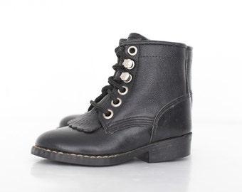 Vintage Kid's Paddock Boots in Jet Black / Kid's Stable Boots / Vintage Kids Black Ankle Boots