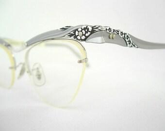Bausch & Lomb Gray Silver 1/10-12K GF New Old Stock NOS Vintage Rimless Cat Eye Frames Golden Gardenia Orig. Sticker on Arm SMALLER Fit 50s