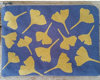 Ginkgo Leaves - metallic gold on charcoal - screen printed and handmade