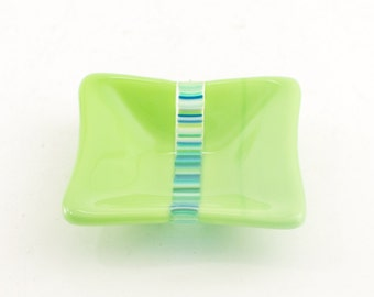 Engagement Ring Dish, Fused Glass, Tea Bag Rest, Spindle Bowl, Trinket Tray, Catch All, Lime Green Decor, Gifts under 15