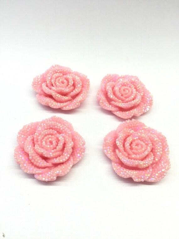 2pcs Light Pink AB 42mm Large Flat Back Chunky Resin Rhinestone Rose Flower Embellishments C7