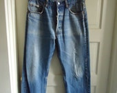 """Vintage 80s LEVIS 501 Buttonfly Jeans Made In USA sz 32"""" waist X 29"""" length"""