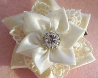 Satin and lace ivory flower on alligator clip with teeth